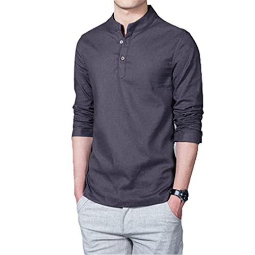 Hombres Primavera Tops Camisetas Hombre Moda Camisetas Stand Collar Manga Larga Base Camisa Lino Algodón Hombres, gris oscuro, XXL