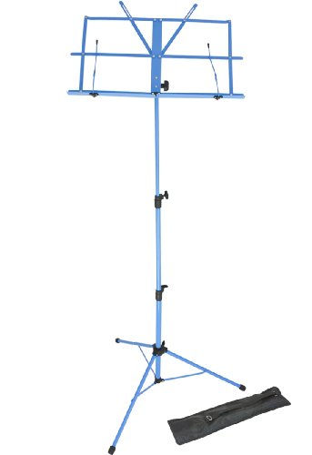 Lawrence LMS02-BL - Atril (regulable, plegable, con funda, metal), color azul