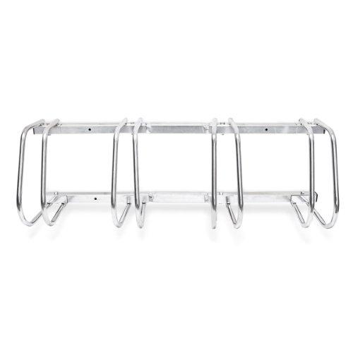 Relaxdays Fahrradständer, Für 4 Fahrräder, Boden- und Wandmontage, Mehrfachständer, HBT: ca. 26 x 100 x 32 cm, silber - 5
