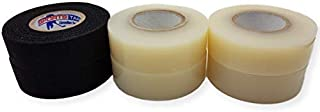 Hockey Tape Combo Pack - Two Black Stick Tape and Four Clear Sock Tape Rolls