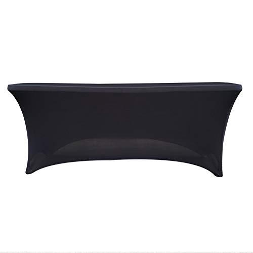 OTOTEC Mantel rectangular de licra para mesa de boda, fiesta, buffet, 1,8 m, color negro