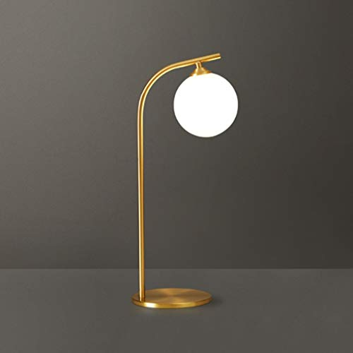 GANFANREN Lámpara de mesa simple nórdica moderna, decoración artística, luz de mesa chapada en cobre, lectura LED, aprendizaje, cafetería, restaurante, tienda, estudio