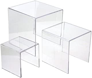 Ifavor123 Clear Acrylic Riser Set - 3 Display Stand Risers (1 set 3