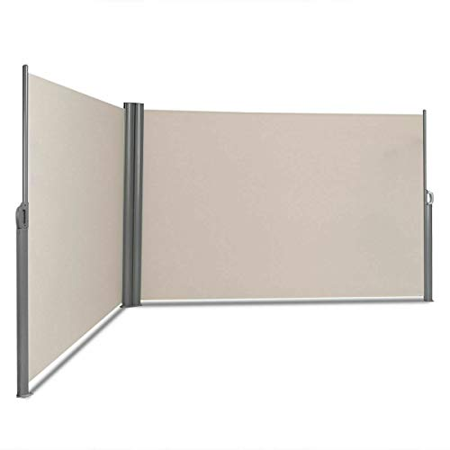 Tangkula Outdoor Patio Retractable Folding Side Screen Awning Waterproof Sun Shade Wind Screen Privacy Divider (237