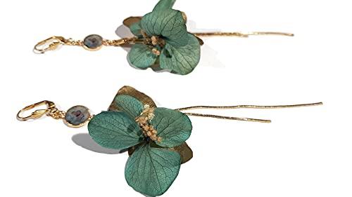 Pendientes GINA flores de hortensia hojas de gitano estabilizadas latón cadena de oro de 24 kilates resina (Pendientes de palanca)