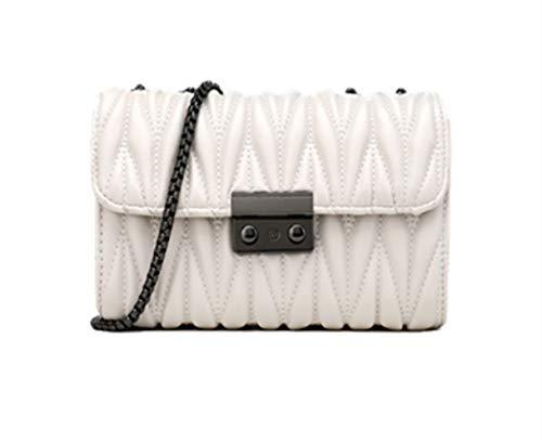 Bolso de cadena de moda Bolso de hombro de cuero de PU para mujer Bolso de mano con monedero de embrague con correa de cadena de metal (blanco)