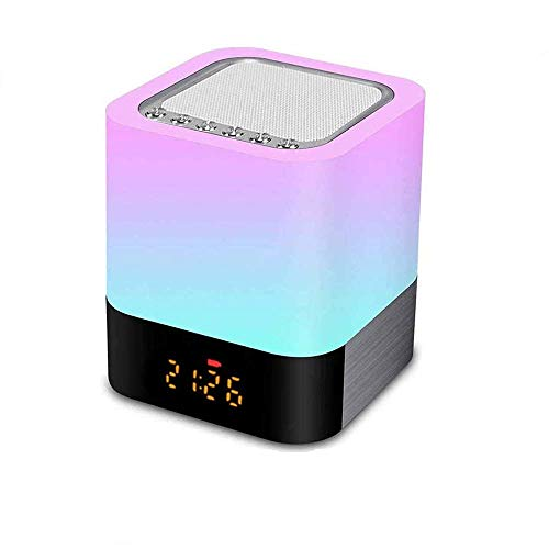 GUOGUODA Lámpara de Noche con Altavoz Bluetooth,Lámpara táctil Que Cambia de Color,Luz de Noche de Noche Regulable RGB,Reloj Despertador Digital