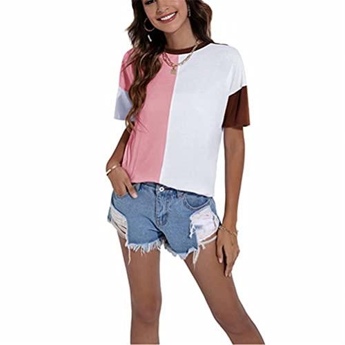 ZFQQ Top de Camiseta de Cuello Redondo Suelto con Costuras de Color en Contraste para Mujer de Verano