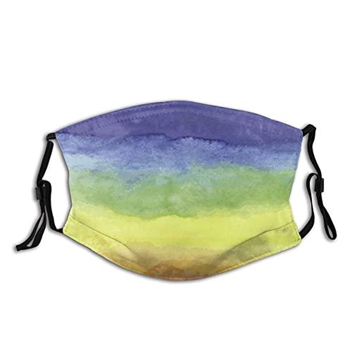 564 Acuarela Rainbow Pasamontañas Unisex Cara Boca Cubierta Proteger Máscara Facial Transpirable con 2 Filtros Cómodos Mascarillas Reutilizables a Prueba de Polvo, Negro, talla única/XL