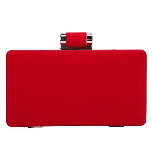 SYMALL Mujer Bolsa de Fiesta Clutch Fiesta Cartera Billetera de Mano Elegante para Mujer Diseño Sobre de Terciopelo, Rojo