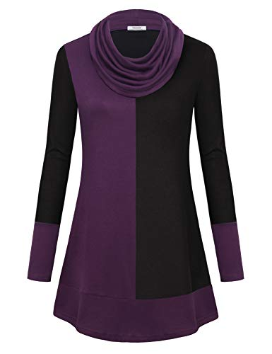 Youtalia Ladies Tops for Leggings, Juniors Tunic Shirt Long Sleeve Warm Cowl Neck Stretchy Knit Tops Color Block Tunic Top Violet Large (Nice Tops To Wear With Skinny Jeans)