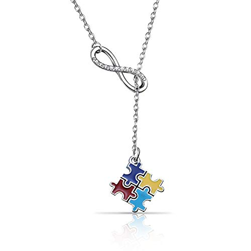 Autism Awareness Jigsaw Necklace Autism Awareness Gift Asperger Awareness Jewelry Infinity Y Lariat Necklace for Autism Mom Teens(autism YNL)