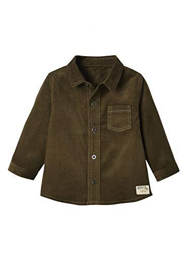 VERTBAUDET Camisa de Pana bebé niño Verde Oscuro Liso 6M-67CM
