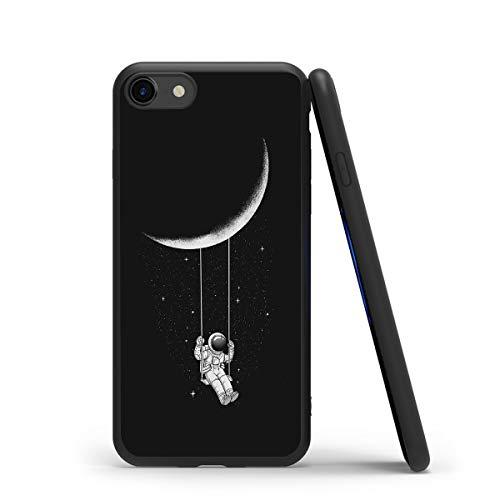 Yoedge Funda para iPhone 7/8 / 9 / SE (2020), Ultra Slim Cárcasa Silicona Negro con Dibujos Animados Diseño Patrón Bumper Case Cover Fundas Movil para Apple iPhone 7 Smartphone, Astronauta