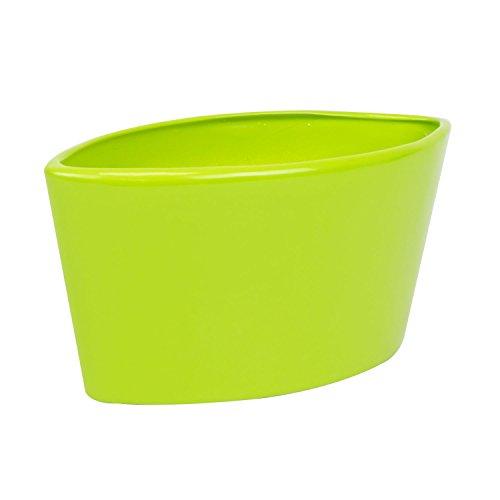 Keramische pot bloempot bladvorm lime groen glanzend L 26,5 cm Malaga