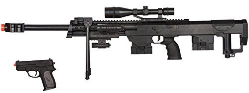 UKARMS 50 Cal Sniper Spring Airsoft Rifle & Pistol Combo Gun Set FPS 260