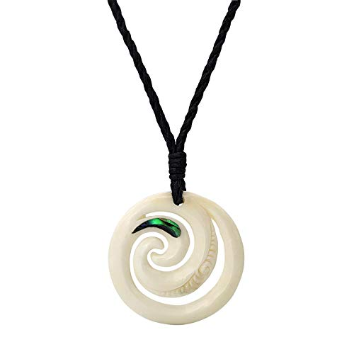 81stgeneration Collar Colgante Unisexo Hueso Tallado a Mano con Abulón Doble Espiral Grabado Maori