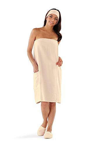 Boca Terry Womens Spa Wrap - 100% Cotton Spa, Shower, Bath and Gym Towel w Snaps - Ecru 4XL