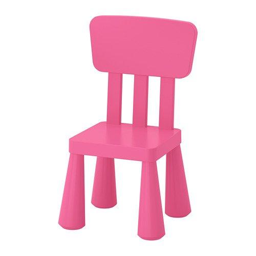 "IKEA Kinderstuhl\""MAMMUT\"" Kindermöbel Stuhl in kräftigem ROSA aus unbedenklichem Kunststoff - BxTxH: 39x36xx67cm"