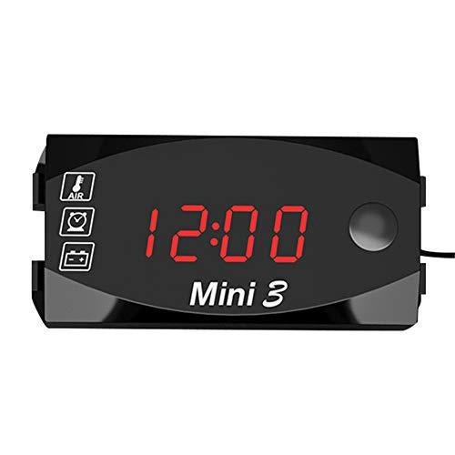 KKmoon Voltmetro Digitale, Motociclo DC 6V-30V 3 in 1 Orologio Digitale + Termometro + Voltmetro di Tensione IP67 Calibro Impermeabile Monitor Batteria per Auto Barca Marina, Rosso