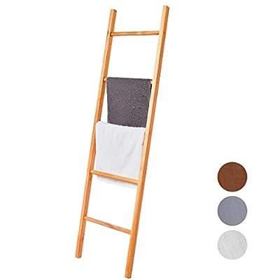 BALIBETOV Premium Pine Wood Blanket Ladder, Towel Ladder - Decorative Leaning Ladder for Bathroom, Living Room or Office. Rustic Chic (Wood, 5)