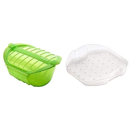 Lékué Estuche Hondo Xl Para El Microondas, Capacidad De 1000 Ml, Para 3-4 Personas, Color Verde + Bandeja Multifunción De Silicona, 3-4 Personas, Translúcido