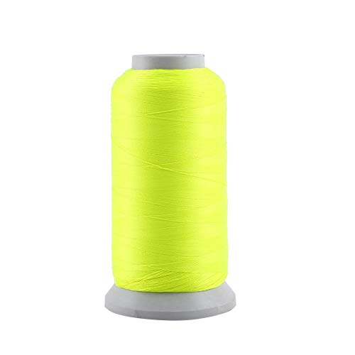 Akozon Embroidery Sewing Thread Glow Polyester Spool Glow In The Dark per Ricami e Cuciture Macchina(3000码-Fluorescent Yellow)