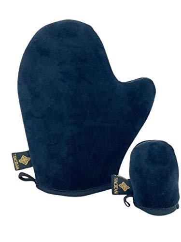 Tancream - Paquete de 2 guantes bronceadores autobronceadores de terciopelo suave al tacto, aplicadores de bronceado falso para rostro y cuerpo