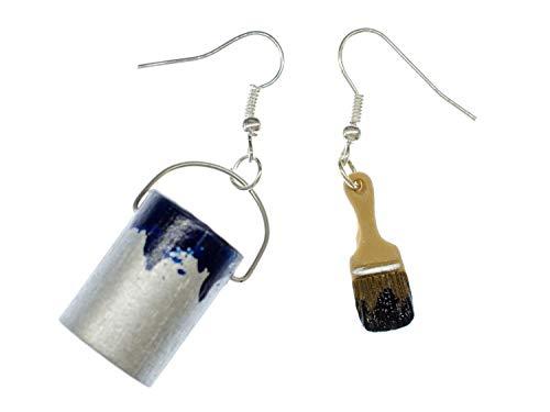 Miniblings Farbeimer Pinsel Set Ohrringe Farbe Lack Maler Künstler Malerset blau - Handmade Modeschmuck I Ohrhänger Ohrschmuck versilbert