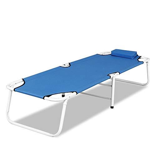 Lwieui Lit Pliant extérieur Lit Simple Pliant Hôpital Lits d'accompagnement Maison Un Seul Bureau Siesta Marche Plage extérieure Hamacs et chaises Longues (Couleur : Bleu, Taille : 180 * 60 * 35cm)