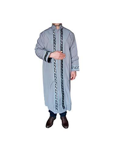 Grau umrandete Jubbah, TÜRKISCHE HANDGEFERTIGT, Thobe, Galabiyya, Jubbah, Thawb, Abaya, Robe, Jubba, muslimische Kleidung, Cübbe (Medium)