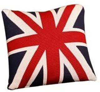 Pluchi Union Jack Knitted Antique 100% Cotton Cushion Cover Dec Pillows Decorative Sofa Couch Cushion Pillow 16x16'' (40x40cm)