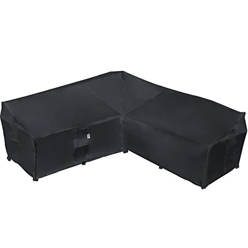 Garden Furniture Cover, Heavy Duty Patio Furniture Covers Waterproof 600D Oxford Sectional Couch Rattan Corner Sofa Table Chair Protection, V Shaped Lawn Winter Protector, (V-Shape-229x229CM-Black)