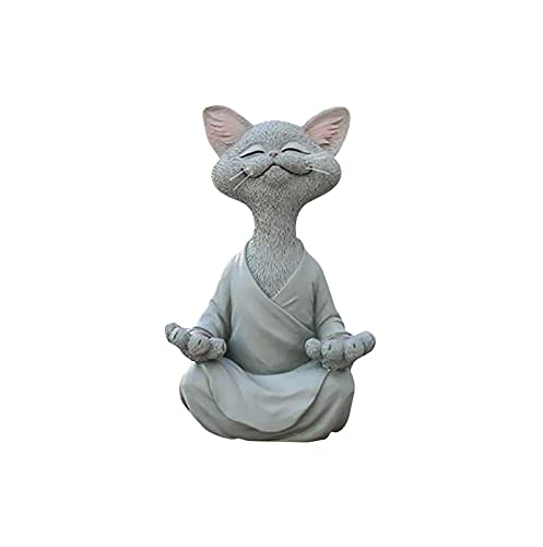 AmazingDays Gartendeko Meditation Statue Katze,Deko Figuren Zen Yoga Katze,Vintage Rasen Garten Dekor,Sammlung Handwerk Für Wohnzimmer Garten Balkon 1pc