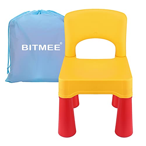 Toddler Chair, Kids Chair for Boys and Girls, Indoor and Outdoor Using, Ergonomic Design, Durable, Non-Toxic Plastic Material (an Additional Serviceable Functional Storage Bag for Kids)(Yellow)