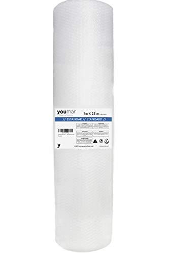 Youmar Solutions - Rollo De Plástico De Burbujas (1 Metro Ancho 25 Metros largo) Para Envolver Productos Frágiles En Transportes y Mudanzas. Alta Protección.Calidad Europea. (ESTANDAR)