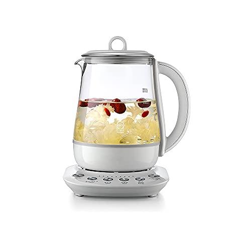 CJSWT Hervidor eléctrico de Vidrio y Tetera con infusor extraíble y Controles de Temperatura, programas de preparación para Sus Tipos Favoritos de tés y cafés, Caldera de Vidrio, 1,5 litros