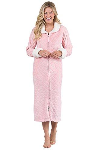 PajamaGram Robes for Women Zipper Front - Plush Fleece, Pink, LG/XL, 12-16