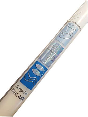 Taufkerze für Jungen/Kommunionkerze für Jungen / 400x40 / in Blau und Silber gestaltet/mit Name und Datum beschriftet