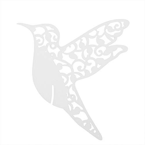 Haofy 50 Piezas Forma de pájaro Boda Hueco Nombre Tarjetas de Lugar para Copa de Vino decoración de Mesa número de Mesa de Fiesta Pegatinas de Pared Pegatina para Boda(Blanco)
