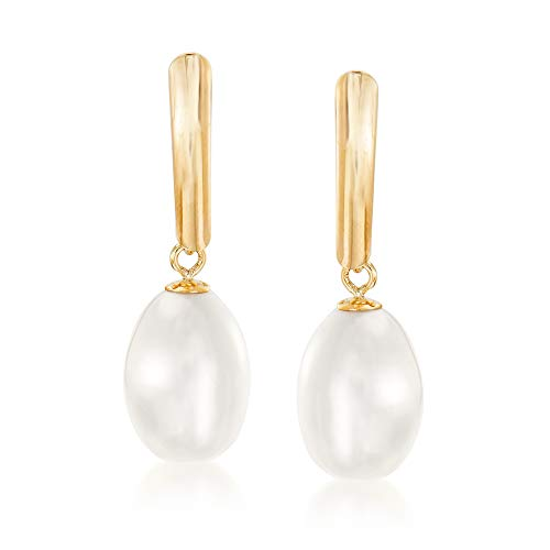 Ross-Simons 8.5-9mm Cultured Pearl Drop Earrings in 14kt Yellow Gold For Women