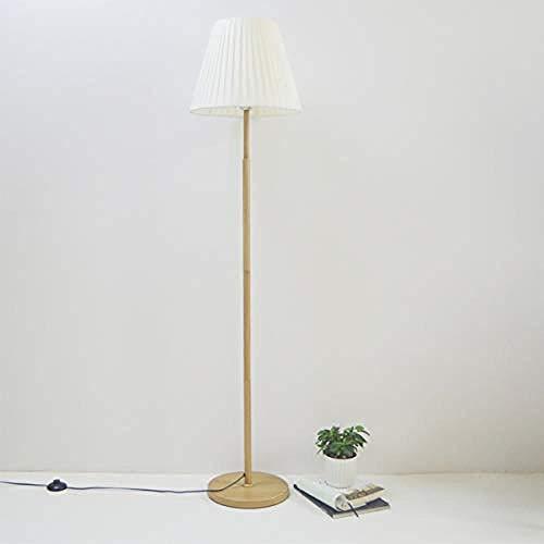 Lámpara de piso uplighter Lámpara de piso Lámpara de pie blanco Diseño de madera de imitación moderna, con pantalla de tela y interruptor de pie plisado lámpara plisada iluminación de alto polo Lámpar