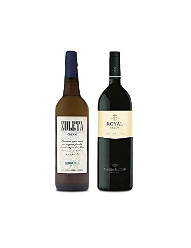 Vino Cream Zuleta de 75 cl y Vino Royal Cream de 75 cl - Mezclanza Exclusiva