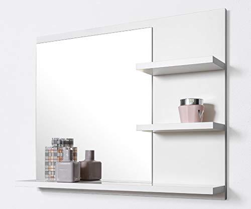 DOMTECH Badspiegel mit Ablagen, Weiß Badezimmer Spiegel 60 cm Wandspiegel Badezimmerspiegel Badezimmer spiegel