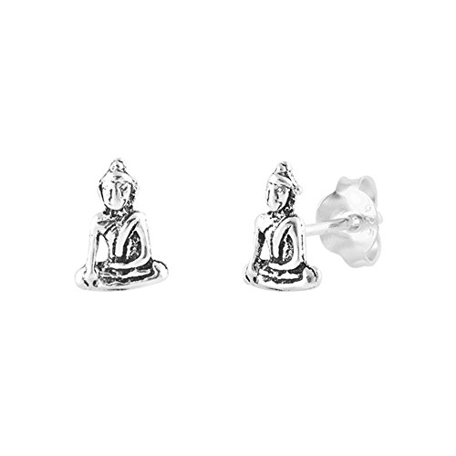 Sterling Silver Buddha Post Stud Earrings, 9mm