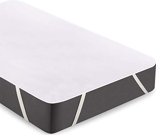 Utopia Bedding Terry Impermeabile Materasso Protettore - Traspirante Cotone Top Coprimaterasso con Cinghie Elastiche Angolo (140 x 200 cm, Doppio)