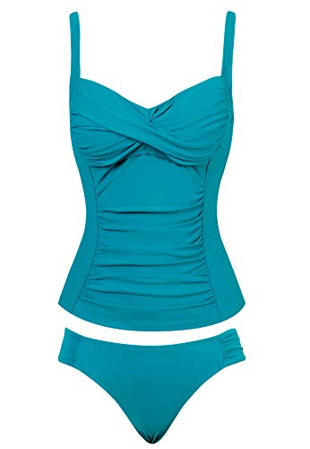 Joyaria Womens/Ladies Ruched Tankini Set Two/2 Piece Swim/Swimming Suit/Suites(Light Blue,Size 14)