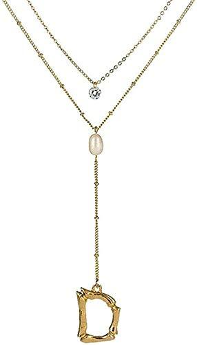 WYDSFWL Collar de Mujer Collar de Moda con Letras Collar de Cadena Larga y Colgante Perla de Cristal Redondo Collar de Doble Capa para Mujer Regalo de cumpleaños Joyería Regalos