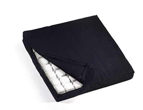 Sitzkissen / Sitzerhöhung mit Würfelstruktur für Druckstellenentlastung (Antidekubitus), spürbare Entlastung beim Sitzen, Kissen 40x40x5,5cm, Bezug 100% Baumwolle, schwarz