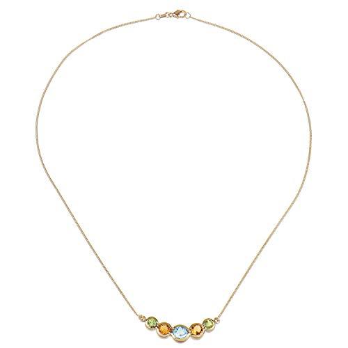 Schmuckboerse24 Damen Collier Halskette 375/000 Gold Gelbgold Blautopas Citrin Peridot